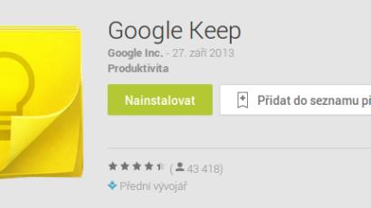 Zapomínáte? Vyzkoušejte Google Keep